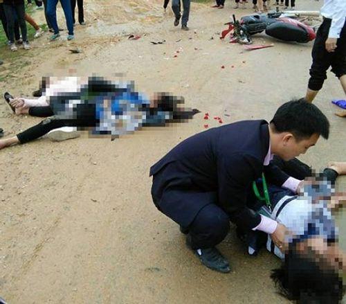 Xe biển xanh gây tai nạn, 3 nữ sinh nhập viện - Ảnh 1