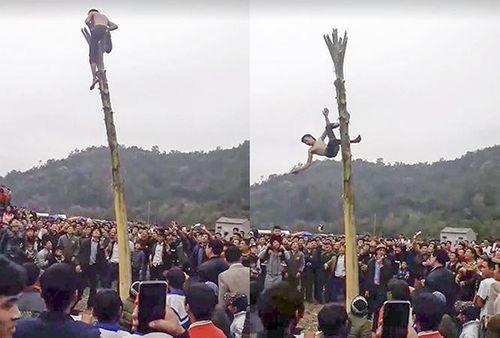 Trèo lên ngọn chuối trong lễ hội, nam thanh niên rơi xuống đất gãy xương sườn - Ảnh 1