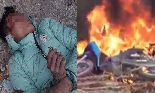 Nam thanh niên đi trộm chó bị đánh ngất xỉu, đốt xe máy - Ảnh 1