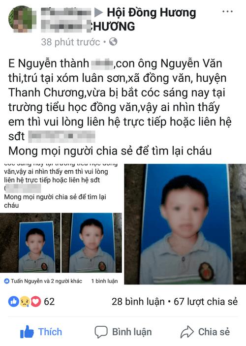 Sự thật vụ bé trai bị bắt cóc ở Nghệ An - Ảnh 1