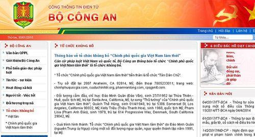 """Bộ Công an thông báo về tổ chức khủng bố """"Chính phủ quốc gia Việt Nam lâm thời"""" - Ảnh 1"""