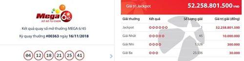 Kết quả xổ số Vietlott ngày 16/11/2018: Giải Jackpot hơn 52 tỷ đồng đã tìm thấy chủ nhân - Ảnh 1