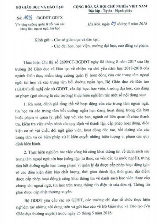"""Bộ GD&ĐT chỉ đạo rà soát các trung tâm ngoại ngữ sau vụ cô giáo mắng học viên là """"lợn"""" - Ảnh 1"""