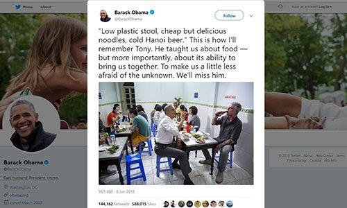 Ông Obama nói nhớ mãi lần ăn bún chả cùng đầu bếp Bourdain tại Hà Nội - Ảnh 1