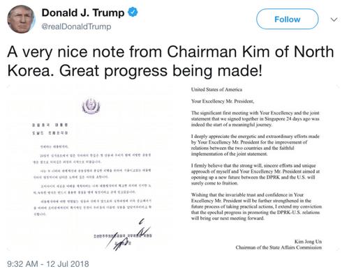 Tổng thống Mỹ Trump hé lộ thư của nhà lãnh đạo Triều Tiên Kim Jong-un - Ảnh 1