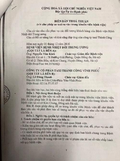 Công ty taxi tố Bệnh viện Nhiệt Đới TW nhận tiền ngoài sổ sách - Ảnh 2