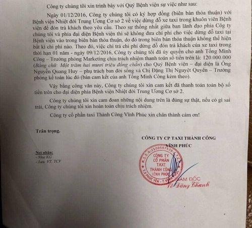 Công ty taxi tố Bệnh viện Nhiệt Đới TW nhận tiền ngoài sổ sách - Ảnh 3