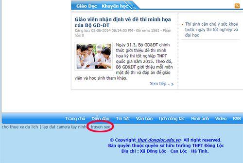 """Website trường học bị hack, chèn link dẫn tới truyện """"nóng"""" - Ảnh 1"""