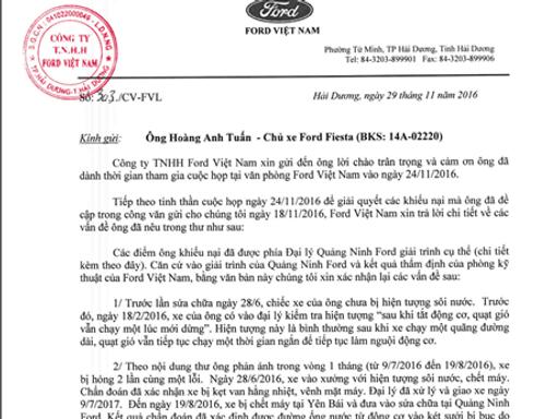 """Khách hàng """"tố"""" Ford Việt Nam càng sửa xe càng chết máy - Ảnh 2"""
