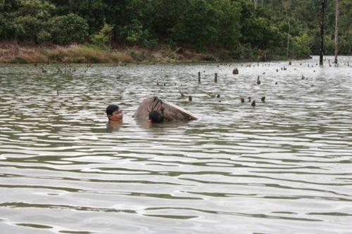 Trục vớt bãi gỗ lậu khủng dưới lòng hồ Thủy điện Sê San - Ảnh 1