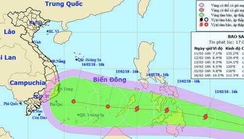 Xuất hiện bão Sanba giật cấp 10 gần Biển Đông - Ảnh 1