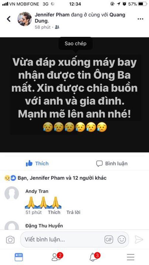 Loạt sao Việt gửi lời chia buồn khi bố của Quang Dũng qua đời  - Ảnh 2