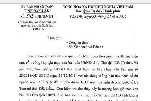 Xác minh việc giả mạo văn bản của Chủ tịch tỉnh Đắk Lắk - Ảnh 1