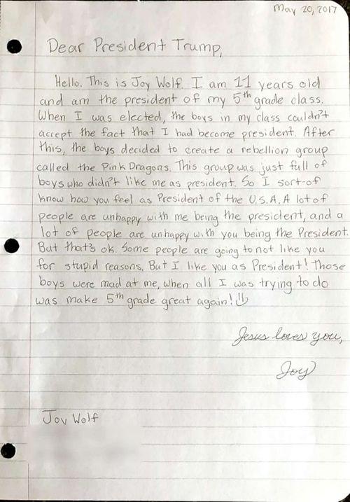 """Cô bé lớp 5 viết thư """"khích lệ"""" Tổng thống Trump  - Ảnh 2"""