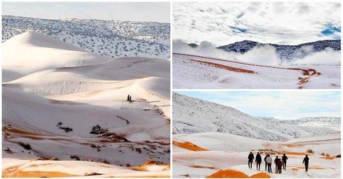 Ngỡ ngàng khi tuyết lại phủ trắng sa mạc Sahara - Ảnh 1