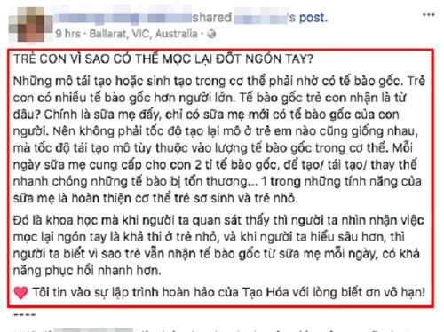 """Bác sĩ nước ngoài sốc với thông tin """"mọc lại ngón tay nhờ sữa mẹ"""" ở Việt Nam - Ảnh 3"""