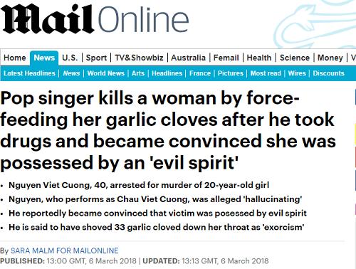 Báo nước ngoài đưa tin nghi án Châu Việt Cường 'ngáo đá', nhét tỏi vào miệng bạn gái gây tử vong - Ảnh 1