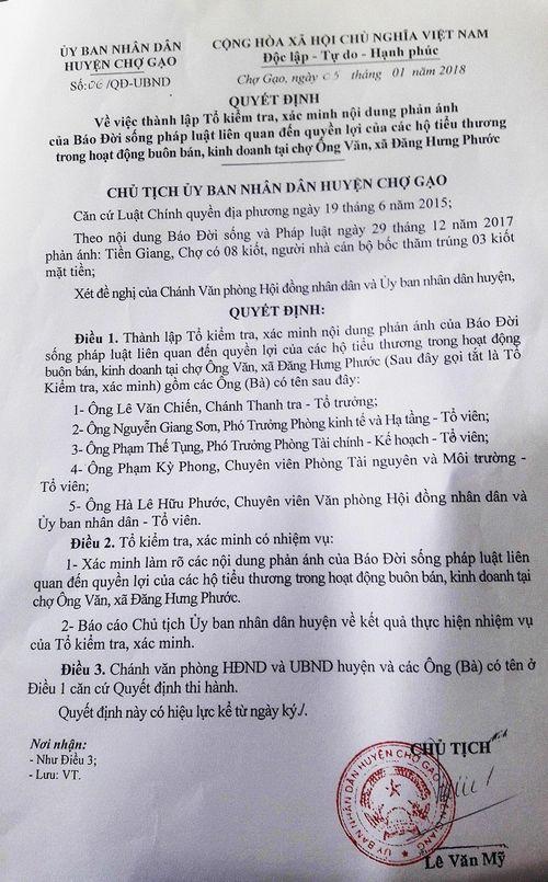 Vụ chợ Ông Văn, Tiền Giang: Chủ tịch huyện đi nước ngoài, chưa thể công bố kết quả kiểm tra - Ảnh 1