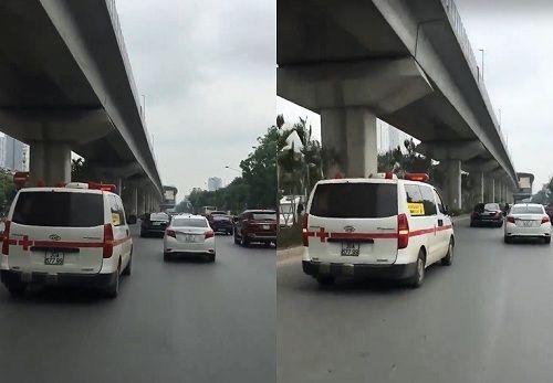 Dù đã hú còi xin đường, xe cứu thương ở Hà Nội vẫn không được nhường lối - Ảnh 1