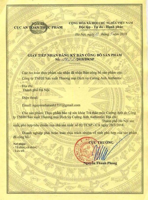 giấy chứng nhận an toàn cường anh