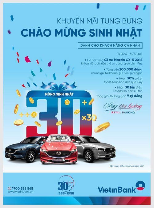 Cơ hội trúng 3 xe ô tô Mazda CX5 khi giao dịch với VietinBank - Ảnh 1