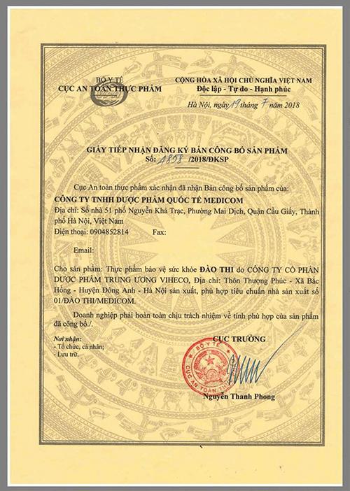 Bộ Y tế cấp chứng nhận Đào Thi là thực phẩm bảo vệ sức khoẻ hiệu quả và an toàn - Ảnh 1