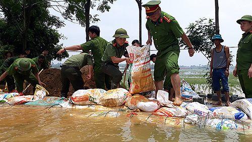 Kịp thời đắp gần 1km đê ở Hòa Bình, ngăn nước tràn xuống ngoại thành Hà Nội - Ảnh 1