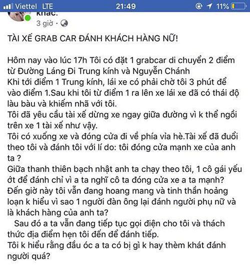 """Hà Nội: Tài xế GrabCar đánh nữ hành khách vì """"đóng cửa xe mạnh"""" - Ảnh 1"""