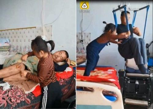 Xúc động hình ảnh bé gái 6 tuổi một mình chăm sóc cha tàn tật - Ảnh 1