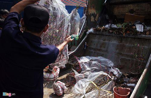 Tiểu thương bật khóc vứt bỏ đào, quất vào xe rác - Ảnh 4