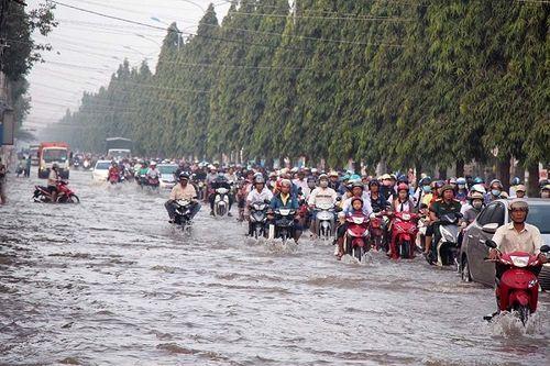 """Cận cảnh Cần Thơ mùa nước nổi, người và xe di chuyển trên """"sông"""" - Ảnh 1"""