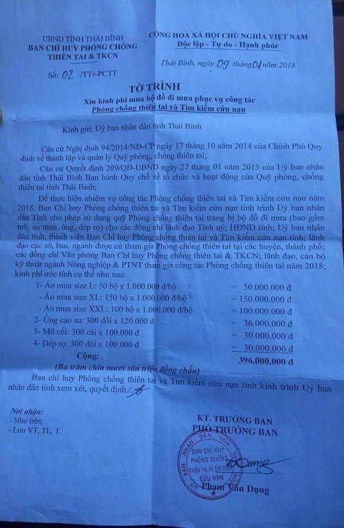 Thái Bình: Đề xuất mua 300 áo mưa giá mỗi cái 1 triệu đồng được lý giải thế nào? - Ảnh 1