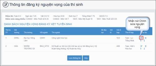 Hướng dẫn các bước điều chỉnh nguyện vọng đăng ký xét tuyển bằng hình thức trực tuyến - Ảnh 2