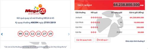 """Kết quả xổ số Vietlott hôm nay 27/1/2019: Giải Jackpot hơn 64 tỷ đồng vẫn """"cô đơn"""" - Ảnh 1"""