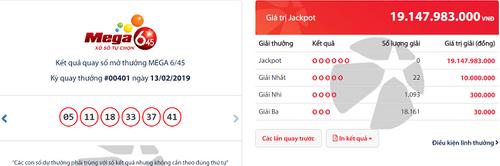 Kết quả xổ số Vietlott hôm nay 13/2/2019: Hé lộ bộ số trúng Jackpot hơn 19 tỷ đồng - Ảnh 1