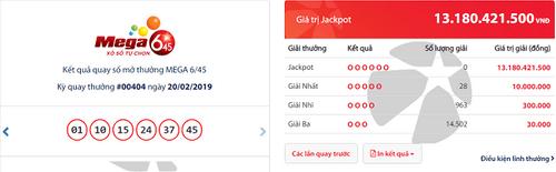 Kết quả xổ số Vietlott hôm nay 20/2/2019: Jackpot hơn 13 tỷ đồng chưa có chủ nhân tiếp theo - Ảnh 1