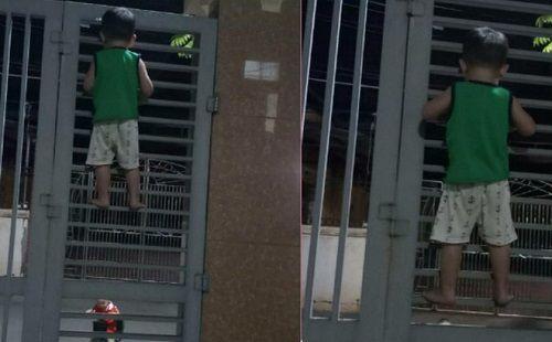 Bị bạn rủ rê, cậu bé 3 tuổi liều lĩnh leo cổng sắt đi chơi - Ảnh 1