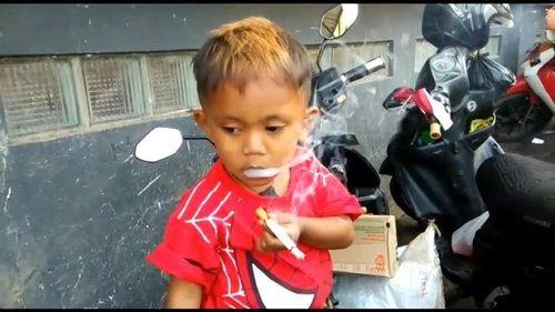 Video: Bé trai 2 tuổi 'nghiện' thuốc lá, hút 40 điếu trong ngày - Ảnh 1