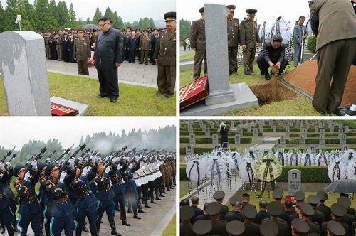 Ông Kim Jong-un đội mưa tham dự lễ tang nguyên soái quân đội - Ảnh 1