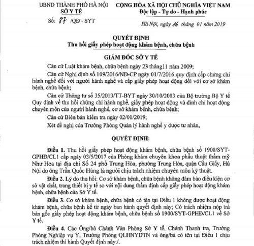 Thẩm mỹ Như Hoa công khai hoạt động, phớt lờ quyết định thu hồi GPHĐ của Sở Y tế - Ảnh 1