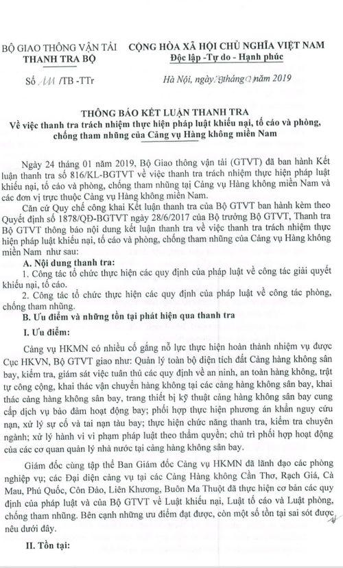 """Thanh tra Bộ GTVT """"điểm mặt"""" hàng loạt sai phạm trong việc quản lý của Cảng vụ Hàng không miền Nam - Ảnh 1"""