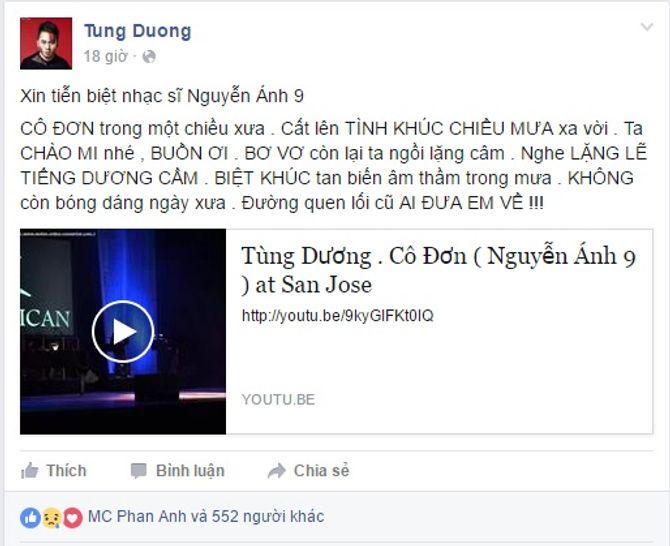 Sao Việt tiếc thương nhạc sĩ Nguyễn Ánh 9 - Ảnh 4