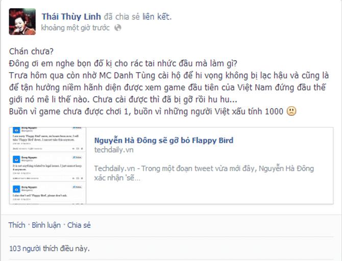 Thái Thùy Linh buồn vì Flappy Bird bị gỡ, Lâm Chi Khanh tung ảnh nude - Ảnh 2