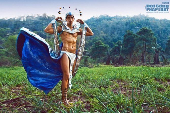 Hữu Vi nổi bật với trang phục dân tộc tại Mister Global 2014 - Ảnh 3