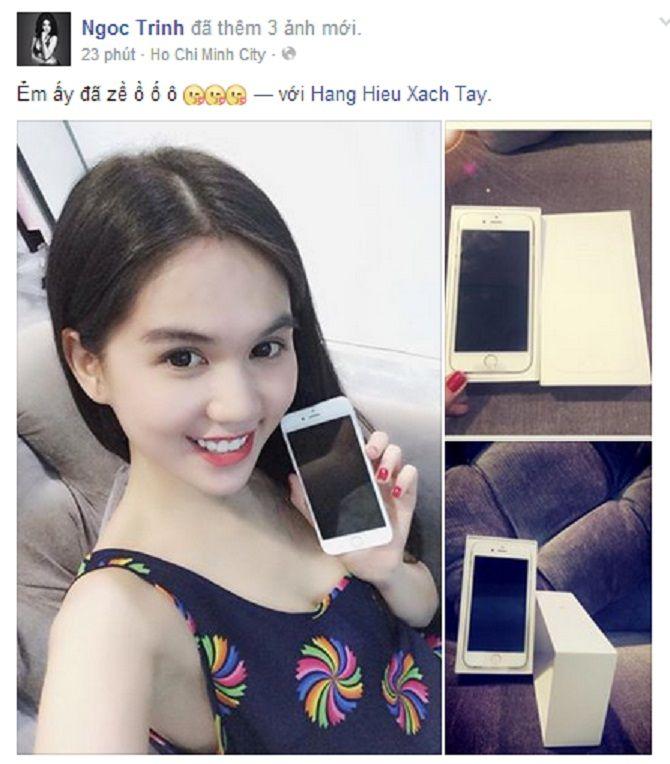 Ngọc Trinh khoe ảnh sở hữu Iphone 6 plus đầu tiên