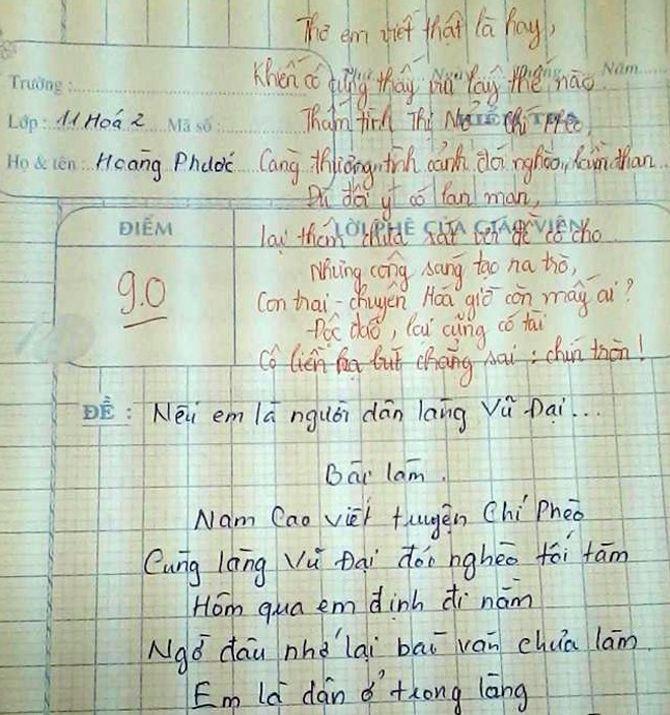 Bài thơ dí dỏm đạt 9 điểm về Chí Phèo, Thị Nở