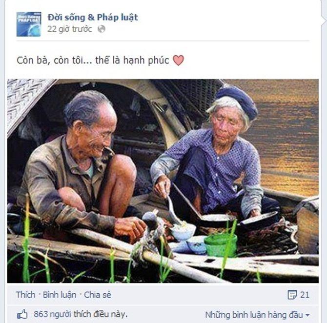 Cảm động với bức hình hai cụ già hạnh phúc