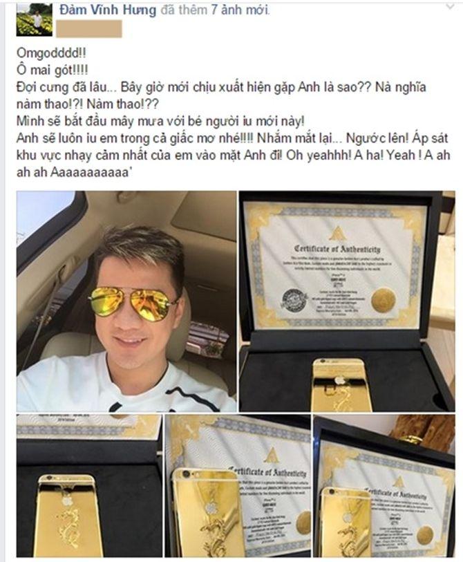 Đàm Vĩnh Hưng khoe Iphone 6 mạ vàng 24K khắc tên mình - Ảnh 1