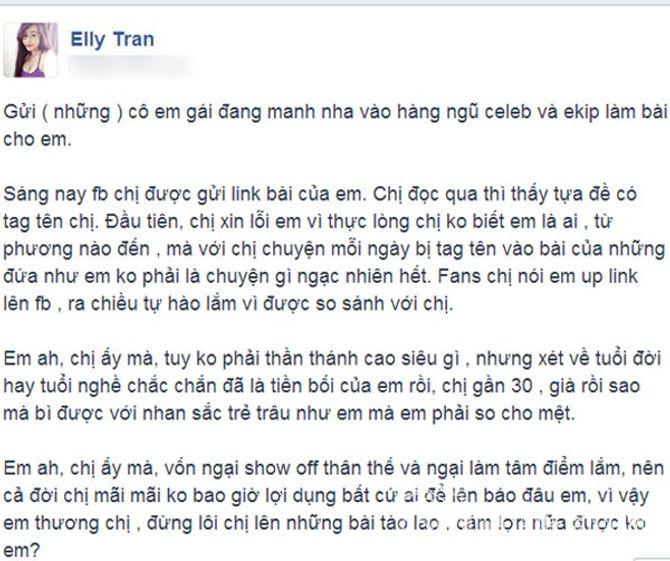 """Elly Trần """"xỉa xói"""" những hot girl mượn danh mình để nổi tiếng - Ảnh 2"""
