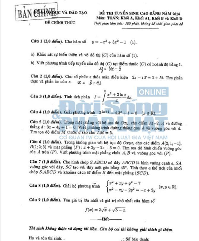 Đáp án đề thi Cao đẳng môn Toán khối A, A1, B, D năm 2014 - Ảnh 1
